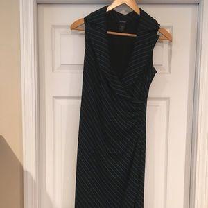 Black and blue wrap dress
